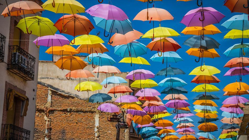 Umbrellas provide shade in summer