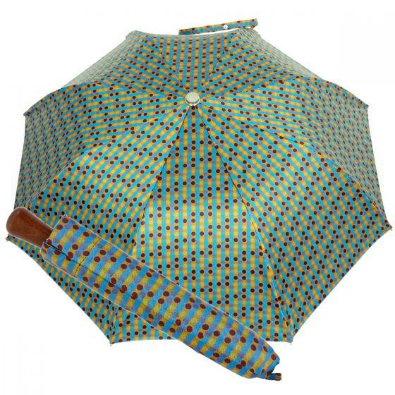 Oertel Handmade pocket umbrella maple - Multi Dots lightblue