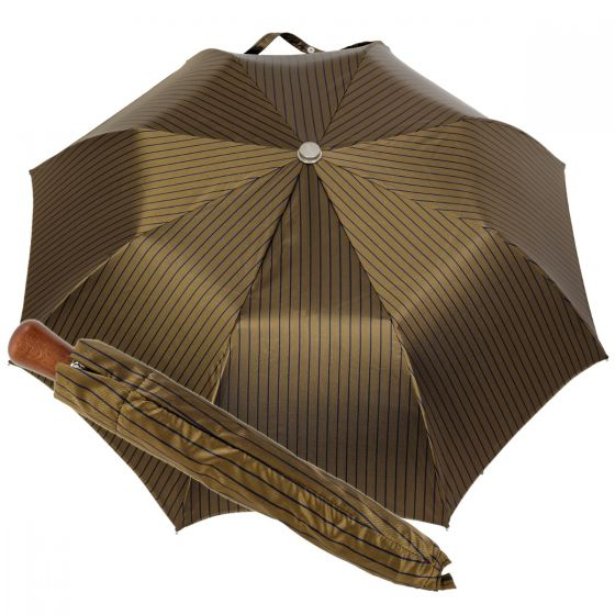 Oertel Handmade pocket umbrella maple - Stripes olive-blue
