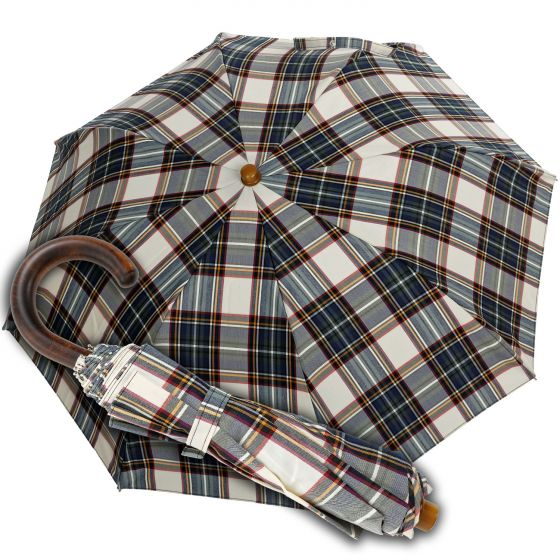 Oertel Handmade pocket umbrella Tartan cotton beige | European Umbrellas