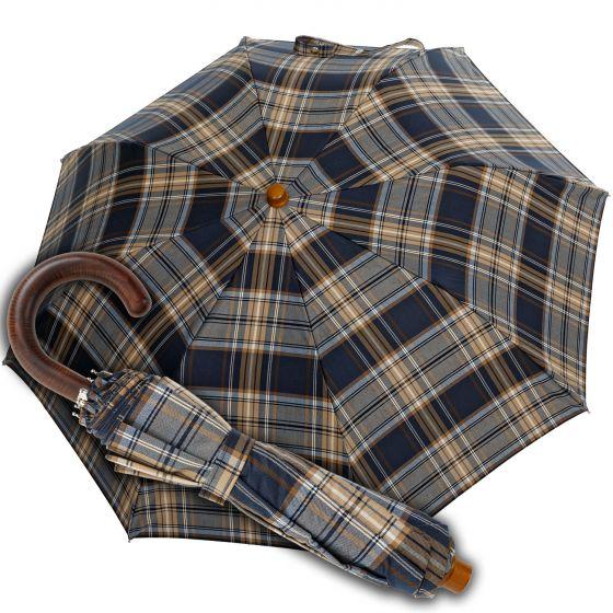 Oertel Handmade pocket umbrella Tartan cotton blue | European Umbrellas